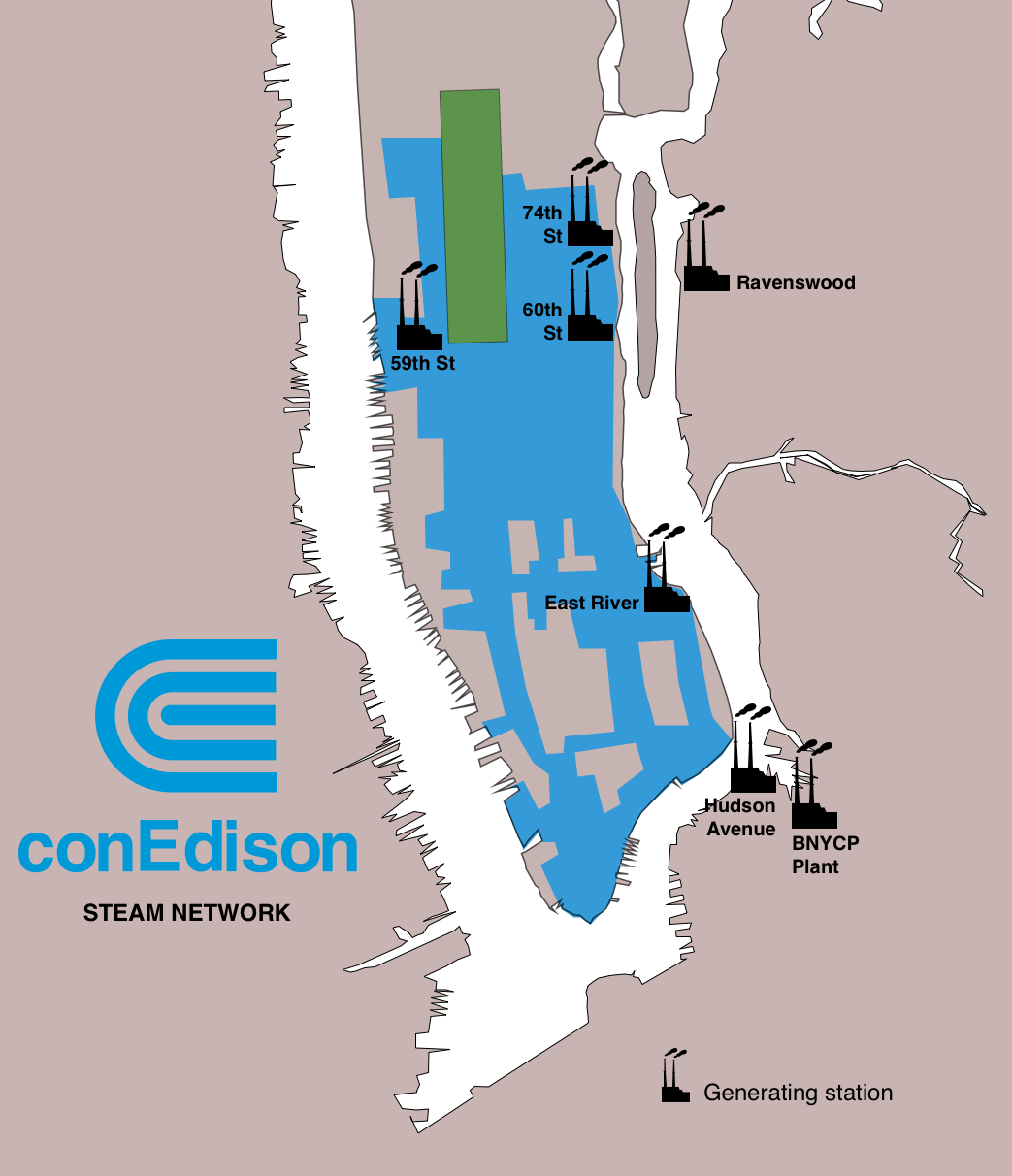 Con Edison Steam Network. North to South: 74st St (East), Ravenswood (Queens), 60th St (East), 59th St (West), East River, Hudson Ave (Brooklyn), BNYCP Plant (Brooklyn)