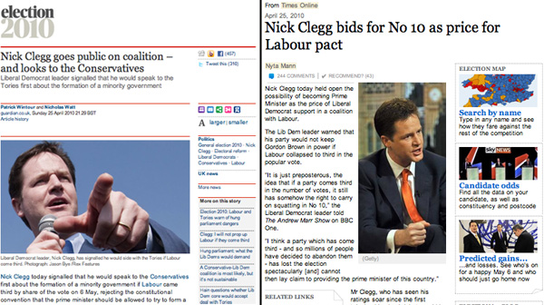 Guardian: Nick Clegg goes public on coalition – and looks to the Conservatives. Times: Nick Clegg bids for No 10 as price for Labour pact