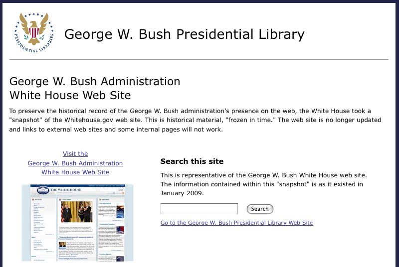 The archive of the George Bush Administration website