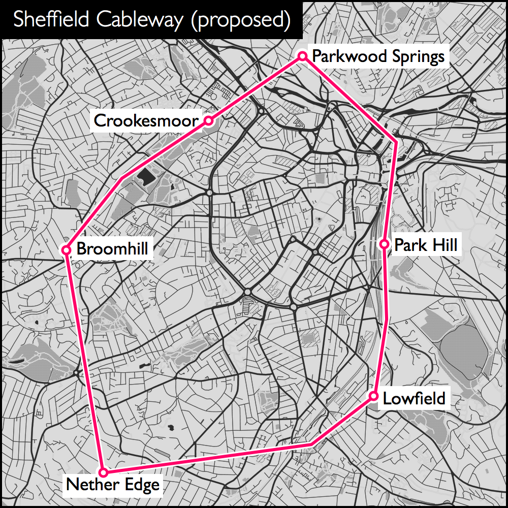 A circular route around the city centre, with stops at Park Hill, Lowfield, Nether Edge, Broomhill, Crookesmoor and Parkwood Springs